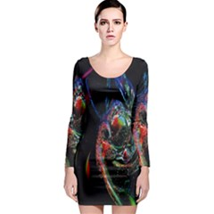 Abstraction Dive From Inside Long Sleeve Bodycon Dress
