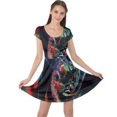 Abstraction Dive From Inside Cap Sleeve Dresses