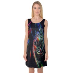 Abstraction Dive From Inside Sleeveless Satin Nightdress