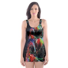 Abstraction Dive From Inside Skater Dress Swimsuit