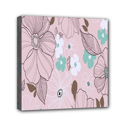 Background Texture Flowers Leaves Buds Mini Canvas 6  x 6