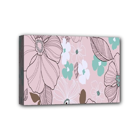 Background Texture Flowers Leaves Buds Mini Canvas 6  X 4