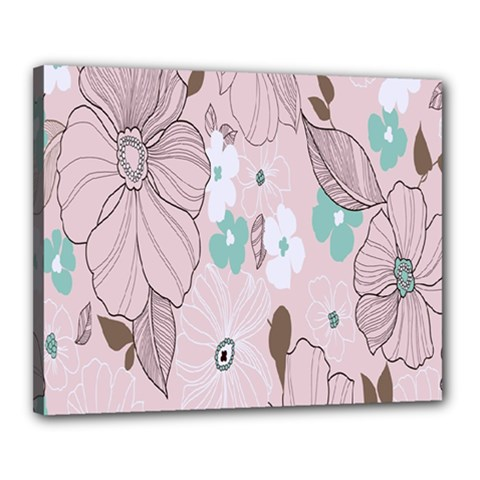 Background Texture Flowers Leaves Buds Canvas 20  X 16