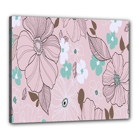 Background Texture Flowers Leaves Buds Canvas 24  X 20