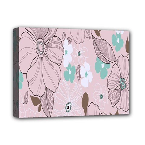 Background Texture Flowers Leaves Buds Deluxe Canvas 16  x 12