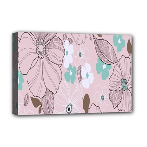 Background Texture Flowers Leaves Buds Deluxe Canvas 18  x 12