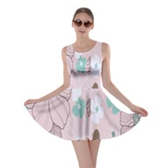 Background Texture Flowers Leaves Buds Skater Dress