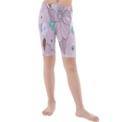 Background Texture Flowers Leaves Buds Kids  Mid Length Swim Shorts