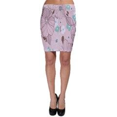 Background Texture Flowers Leaves Buds Bodycon Skirt