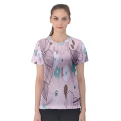 Background Texture Flowers Leaves Buds Women s Sport Mesh Tee