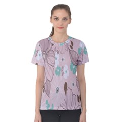 Background Texture Flowers Leaves Buds Women s Cotton Tee