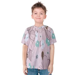 Background Texture Flowers Leaves Buds Kids  Cotton Tee