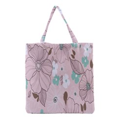Background Texture Flowers Leaves Buds Grocery Tote Bag