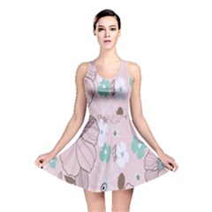 Background Texture Flowers Leaves Buds Reversible Skater Dress