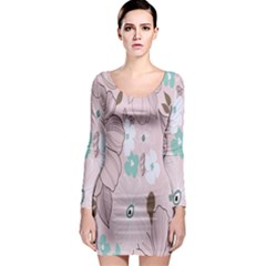 Background Texture Flowers Leaves Buds Long Sleeve Bodycon Dress