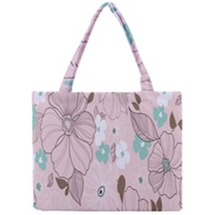 Background Texture Flowers Leaves Buds Mini Tote Bag