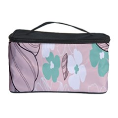 Background Texture Flowers Leaves Buds Cosmetic Storage Case