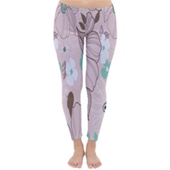 Background Texture Flowers Leaves Buds Classic Winter Leggings