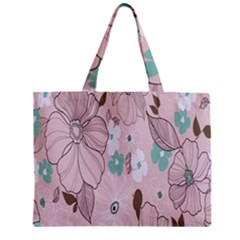 Background Texture Flowers Leaves Buds Zipper Mini Tote Bag