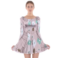 Background Texture Flowers Leaves Buds Long Sleeve Skater Dress