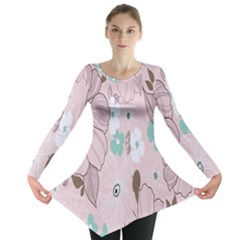 Background Texture Flowers Leaves Buds Long Sleeve Tunic
