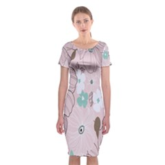 Background Texture Flowers Leaves Buds Classic Short Sleeve Midi Dress
