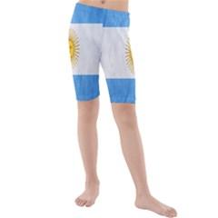 Argentina Texture Background Kids  Mid Length Swim Shorts