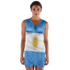 Argentina Texture Background Wrap Front Bodycon Dress