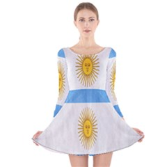 Argentina Texture Background Long Sleeve Velvet Skater Dress