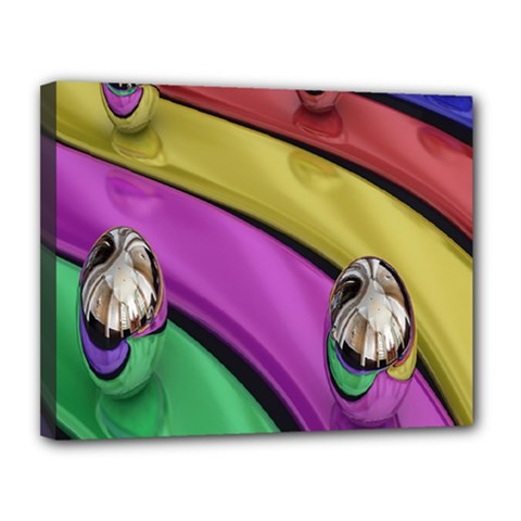 Balloons Colorful Rainbow Metal Canvas 14  X 11