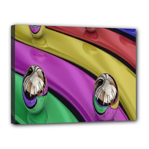 Balloons Colorful Rainbow Metal Canvas 16  x 12