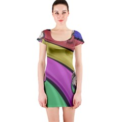 Balloons Colorful Rainbow Metal Short Sleeve Bodycon Dress