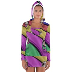 Balloons Colorful Rainbow Metal Women s Long Sleeve Hooded T Shirt