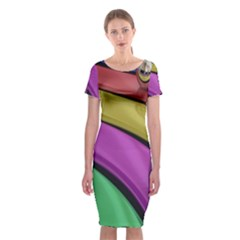 Balloons Colorful Rainbow Metal Classic Short Sleeve Midi Dress