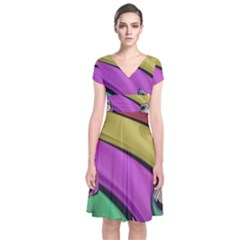 Balloons Colorful Rainbow Metal Short Sleeve Front Wrap Dress