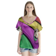 Balloons Colorful Rainbow Metal Flutter Sleeve Top