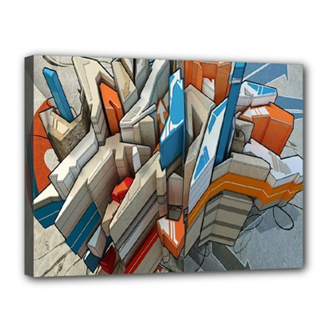 Abstraction Imagination City District Building Graffiti Canvas 16  x 12