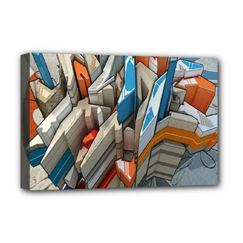 Abstraction Imagination City District Building Graffiti Deluxe Canvas 18  x 12