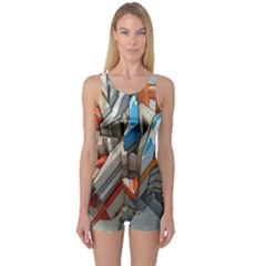 Abstraction Imagination City District Building Graffiti One Piece Boyleg Swimsuit
