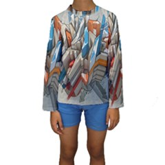 Abstraction Imagination City District Building Graffiti Kids  Long Sleeve Swimwear