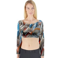 Abstraction Imagination City District Building Graffiti Long Sleeve Crop Top