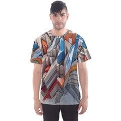 Abstraction Imagination City District Building Graffiti Men s Sport Mesh Tee