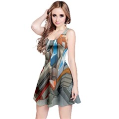 Abstraction Imagination City District Building Graffiti Reversible Sleeveless Dress