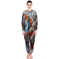 Abstraction Imagination City District Building Graffiti OnePiece Jumpsuit (Ladies)