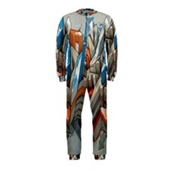 Abstraction Imagination City District Building Graffiti Onepiece Jumpsuit (kids)