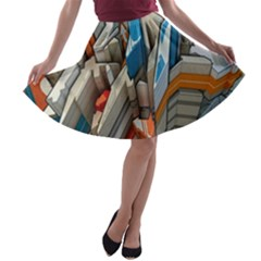 Abstraction Imagination City District Building Graffiti A-line Skater Skirt