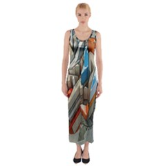 Abstraction Imagination City District Building Graffiti Fitted Maxi Dress