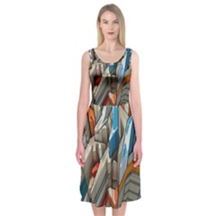 Abstraction Imagination City District Building Graffiti Midi Sleeveless Dress