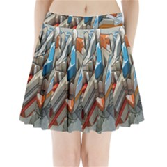 Abstraction Imagination City District Building Graffiti Pleated Mini Skirt
