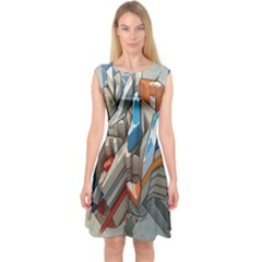Abstraction Imagination City District Building Graffiti Capsleeve Midi Dress